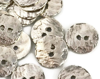 Mykonos Button - 16mm Silver - Cornflake Round Button Bright Fine Silver