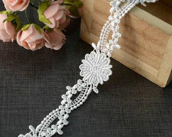 "10 yard 2.5cm 0.98"" wide ivory embroidery lace trim ribbon L22K439 free ship"