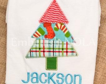 Christmas Tree Applique Shirt or Bodysuit for Boys