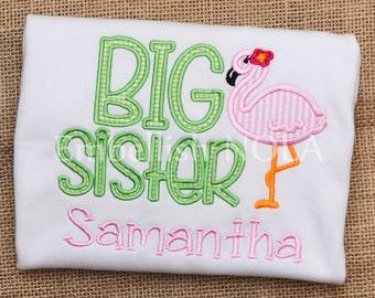 Big Sister Flamingo Applique Shirt