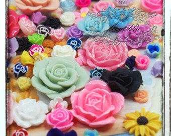 100 PCS Mixed Assorted Roses Cabochon Assorted Flower Flat back Resin Diy Phone Case deco Decoden Craft Accessory (Flower Serious) AK.FL