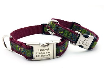 Dark Paisley Dog Collar with Laser Engraved Personalized Buckle