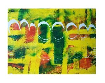The Eight 8 2 Original Monoprint Abstract Acrylic Painting 5x7 Yellow Green Red White