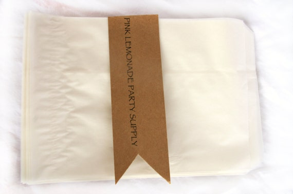 GLaSSiNe BaGs-large 5.5 x 8 inches-wax lined-translucent-bakery bags-Party Favors-Wedding Favors-Gift Wrapping--Crafts--50ct
