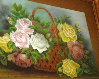 Rare Old Pastel Painting Basket Of ROSES Gilt Frame Shabby Cottage Chic Home Decor