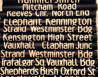 Vintage  London bus blinds.   unframed for easy postage lots of destinations.  SALE NOW ON!!