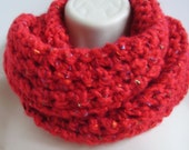 crochet infinity scarf, eternity scarf , loop scarf, circle scarf, red with flecks of blue green orange purple