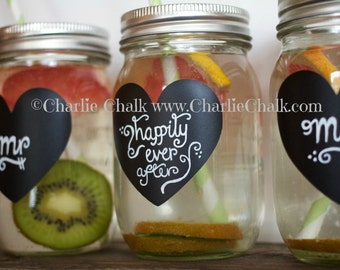 DIY Wedding Favors, Wedding Labels, 100 Non-Toxic Waterproof Chalkboard Labels, Personalized Mason Jar Labels Made in the USA