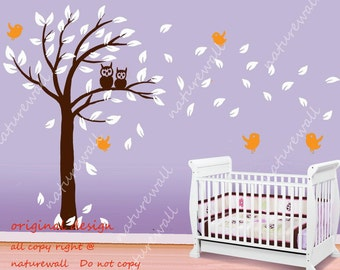 Kids wall decals owl Tree  baby decal nursery decal room decor nature birds decal wall decor wall art-lovely owl tree with birds