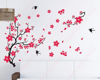 Flower wall decals wall stickers cherry blossom decals Kids wall decal tree decals baby nursery wall decor wall art - Cherry Blossom Tree