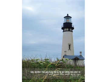 I will Instruct Thee and Teach Thee...I Will Guide Thee with Mine Eye - Psalm 32:8 12 x 16 Christian Wall Art KJV Scripture with Lighthouse
