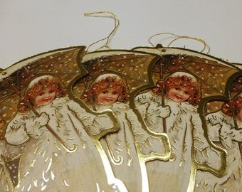 Vintage Winter Snow Parasol Die Cut Ornaments. Victorian Christmas Ornaments. Young Girl Ornament. 4.5 x 3.75 Inch. One (1).