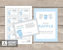 Diaper Raffle Tickets and Sign - Blue Baby Shower, bodysuit theme - Boy Baby Shower - INSTANT DOWNLOAD - Printable PDF