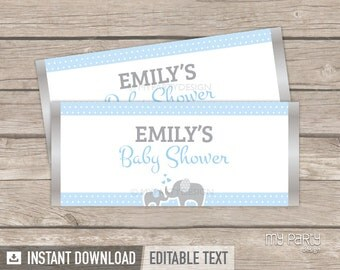 Elephant Baby Shower - Chocolate Wrappers - Boy Blue - INSTANT DOWNLOAD - Printable PDF with Editable Text