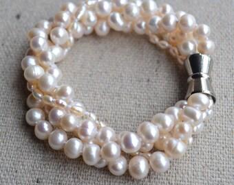 ivory pearl bracelet, 4 rows pearl  bracelet, 4-7mm freshwater pearl bracelet, wedding bracelet, bride bracelet, cheap pearl bracelet