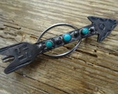 Navajo Arrow Turquoise Silver Money Tie Clip Whirling Logs  1920