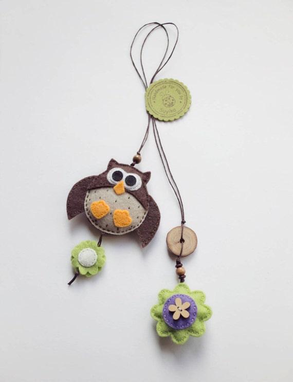 Big owl felt bookmark, felt owl ornament