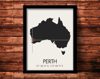 Perth Map Print   Perth Map Art   Perth Print   Perth Gift   Australia Map   11 x 14 Print
