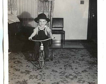2 Vintage PHOTOs LOT Young BOY Bike TRIKES Tricycles one w Hat 1 by tetherball