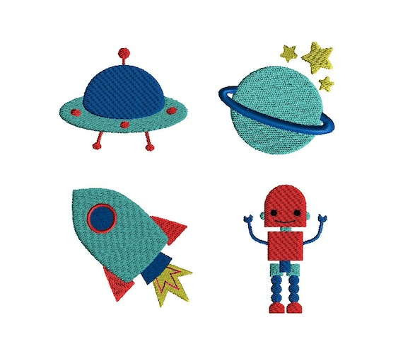 Mini outer space machine embroidery design set instant for Space embroidery patterns