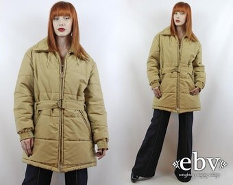 Vintage 80s Beige Poofy Coat L XL Poofy Jacket 80s Ski Jacket Warm Coat Poofy Ski Jacket Puffer Coat Puffer Jacket