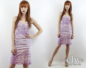 Vintage 70s Purple Tie Dye Slip Dress XS S Vintage Slip Lace Slip Dress Tie Dye Dress Hand Dyed Slip Dress Vintage Nightgown Purple Slip