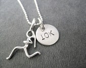 GIRLS RUN DISTANCE - 5k, 10k, 13.1, 26.2 or Xc  - Choose 16, 18 or 20 inch Sterling Silver Ball Chain - Running Necklace - Marathon Jewelry