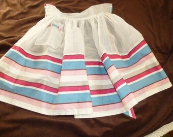 Apron Vintage Half Sheer with Pink and Blue Stripes