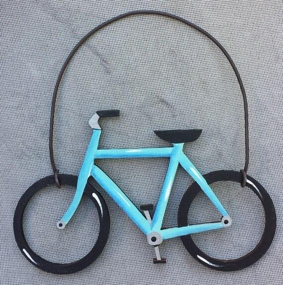Christmas Tree Ornament/Gift Tag -- BICYCLE, Aqua Blue -- OV10