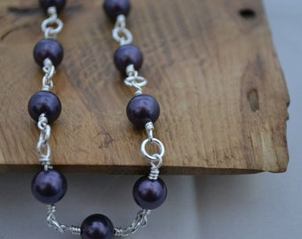 South Sea Purple Shell Pearl wire wrapped necklace