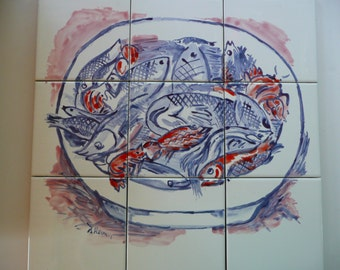 Handpainted Ceramic Tile Bowl of Seafood Mural