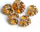 Czech glass leaf beads - Amber Yellow, silver inlays, woodland - Maple leaves - 11x13mm - 10Pc - 0384