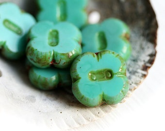 Czech Picasso beads, Turquoise green glass beads, Clover shape, flat square, table cut - 12mm - 6Pc - 0379