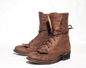 size 6 M Brown Lace Up Ropers Laredo Lacer Ankle Boots for Women