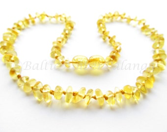 Baltic Amber Teething Necklace, Lemon Color Beads