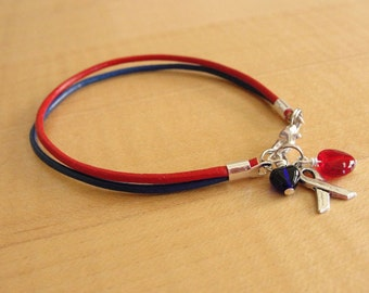 Red and Blue Leather Awareness Bracelet - Noonans Syndrome, SADS, Congenital Heart Defect & More