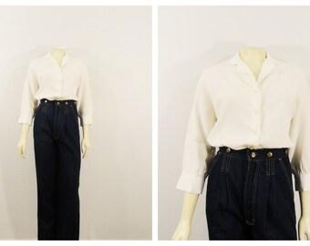 Vintage Blouse Ivory Button Up The Pilot Blouse Silk Blend 3/4 Length Sleeves Size Medium