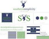 Custom Branding Package Premade Logo with Watermark for Photographers and Small Businesses Green and Navy Preppy Deer // Antlers //Woodland