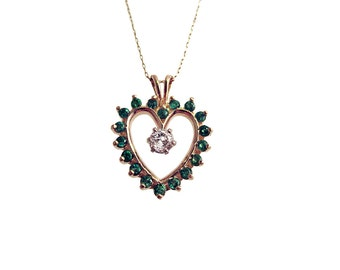 Vintage Emerald and Diamond Gold Heart Pendant