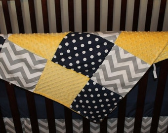 Navy Dots, Gray Chevron, and Yellow Minky Patchwork Baby Blanket -Baby, Toddler, Children, Adult