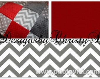 Baby Crib Bedding - Gray Chevron, White Gray Dot, and Red Crib Bedding Ensemble with Patchwork Blanket