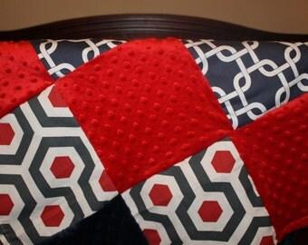 Baby Boy Blanket - Magna, Gray Chevron, Navy Gotcha, Red Minky, and Navy Minky Patchwork Baby Blanket