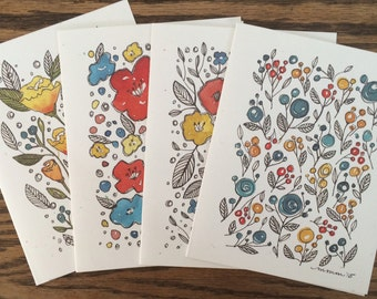Set of four greeting cards from original watercolor floral designs - blank inside