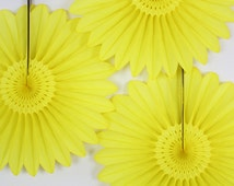 Baby Shower Decor // Set of 3 Yellow Paper Fans //  baby showers, birthday parties, bridal showers, wedding Decorations