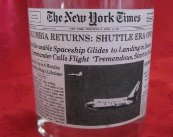 Vintage New York Times Columbia Space Shuttle Glass