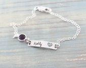Hand stamped sterling silver name bracelet with birthstone - ID bracelet - stamped bracelet - birthstone jewelry - custom jewelry