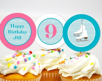 Personalized Ice Skating Birthday Cupcake Toppers - DIY Printable Digital File