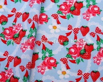2053 - 1 yard cotton fabric  - Strawberry ,flowers and bows