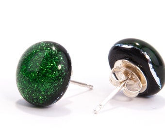 Forest green stud earrings fused dichroic glass sterling silver present presents gifts wedding bride bridesmaid teacher teachers gift mum