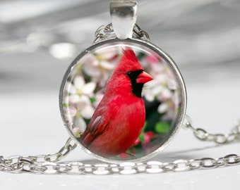 Cardinal Bird with Flowers Pendant Glass Pendant Necklace Cardinal Jewelry Cardinal Pendant